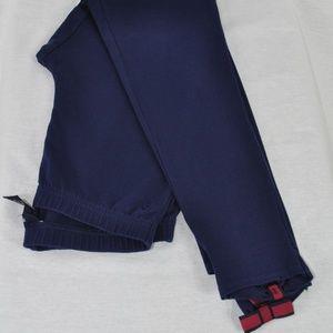 RALPH LAUREN Cotton Grosgrain Bow Leggings XL Navy